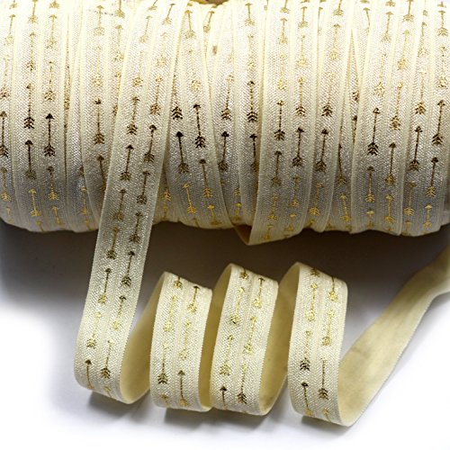 mdribbons 5/8 Inch 50 Yards/Roll Gold Foil Arrow Print FOE Elastic Ribbon-For Hair Tie Headband Ponytail Holder Making Supplies- Ivory Color