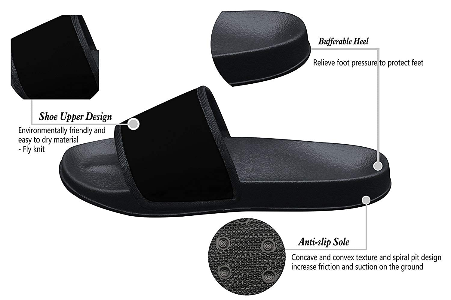 Qujki Kids Dream Vacation Paris French Beach Sandal Non-Slip Bath Slipper Black