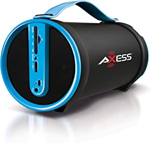 "Axess SPBT1033 Portable Bluetooth Indoor/Outdoor 2.1 Hi-Fi Cylinder Loud Speaker with Built-In 4"" Sub and FM Radio, SD Card, AUX Inputs in Blue"