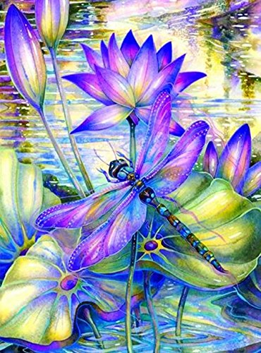 Girooms 5D Diamond Painting Full Drill PURPLE DRAGONFLY Diamond Painting By Number Kits for Wall Decoration