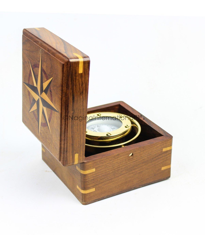 Nautical rosawood Cased Brass Polished Gimbal Compass   Nautical Decor & Instruments   Nagina International