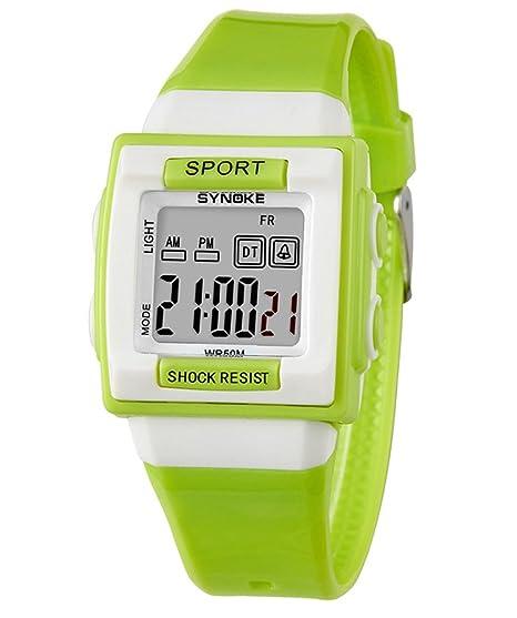 cheamlion Kids Verde impermeable elástica Cronógrafo Reloj digital para niños niñas: Amazon.es: Relojes