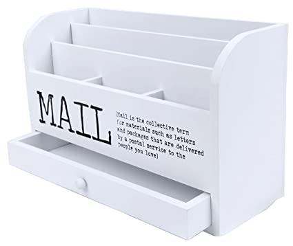 juvale 3 tier wooden mail desktop organizer sorter with storage drawer for office and