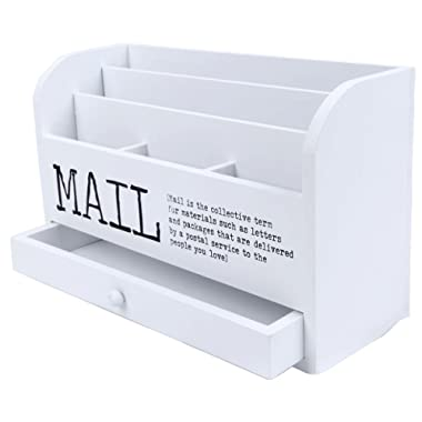 Juvale 3 Tier Wooden Mail Desktop Organizer & Sorter with Storage Drawer - for Office and Home - Keep Mail, Letters, Files, Office Supplies Neat & Organized - White - 11 Inches.