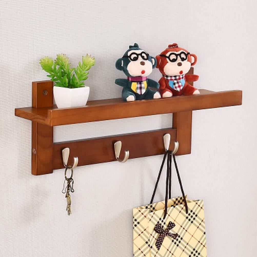 BROWN 3 hooks WAN SAN QIAN- ♦ZWJ Wall-Mounted Coat Rack Multifunctional Solid Wood Decorative Storage Display Shelf with Hooks Shelf0331 (color   Brown, Size   3 Hooks)