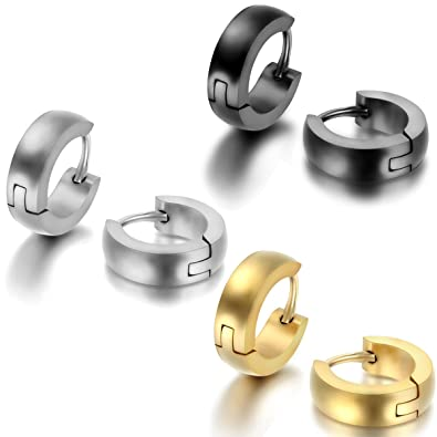 JewelryWe Pendientes Hombre Mujer, Huggie Pendientes de Aro, Pulido Acero inoxidable Pendientes Unisex Oro Negro Plateado (con bolsa de regalo) 1 Par