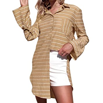 4203c0a0e106 Snowfoller Women Long Shirt Fashion Autumn T-Shirt Dress Autumn Thin  Striped Long Sleeve Tops