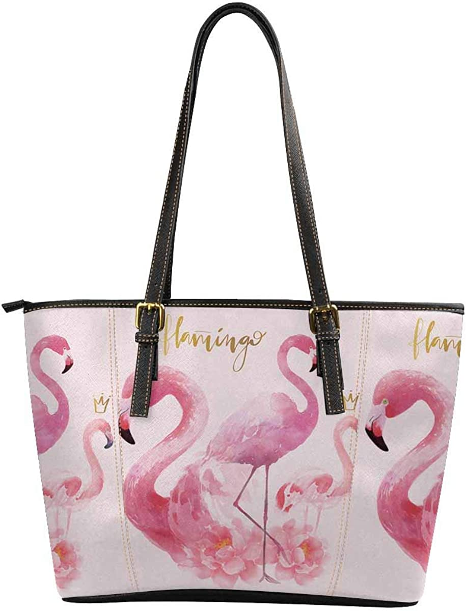 Womens Leather Handbags Shoulder Tote Flamingo Flowers Watercolor Top Handles Bag Purse for School Travel