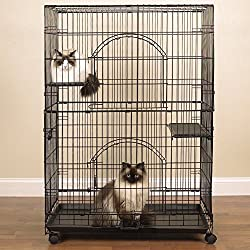 "ProSelect Customizable Cat Cage – Safe and Durable Wire and Plastic Cage Measuring 35.5"" x 22.25"" and 48"" Tall"