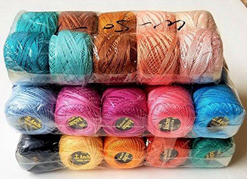 50 ANCHOR Pearl Cotton Crochet Balls. Size 8 (85 Meters each), Excellent Colours (Anchor Pearl Cotton)