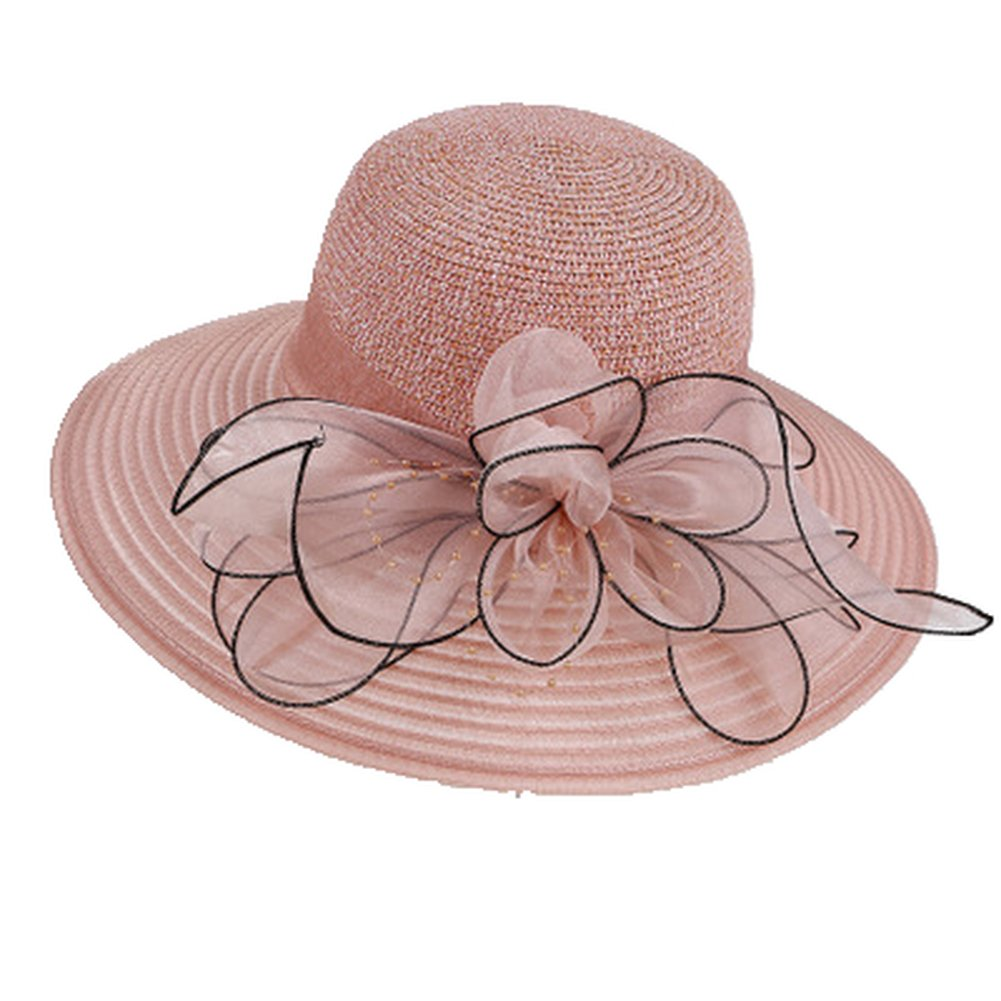 AOBRITON Sun Hat Women Wide Birm Panama Beach Hat Bucket Cap for Travel Vacation