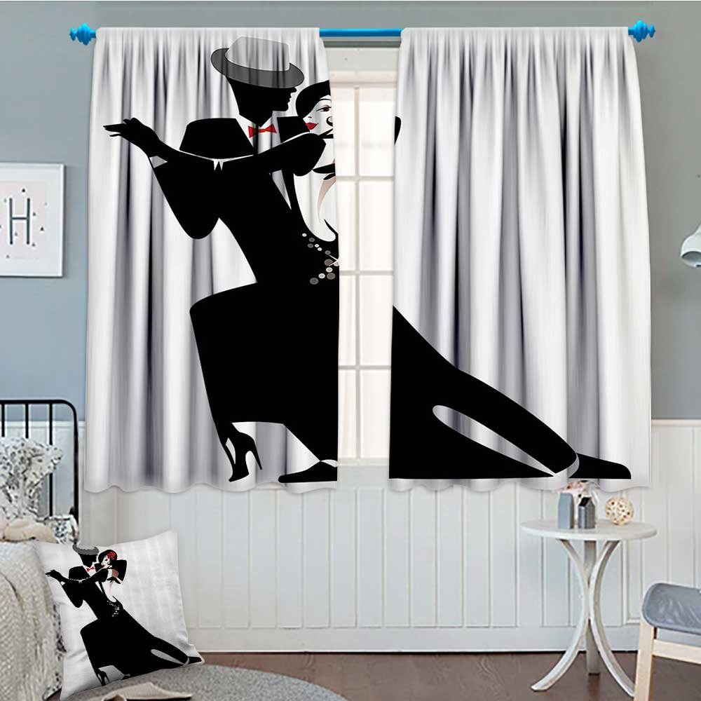 Girls Room Darkening Wide Curtains Man and Woman Partners Romantic Dance Tango Waltz Love Valentines Rhythm Music Art Decor Curtains By 84''x84'' Black White