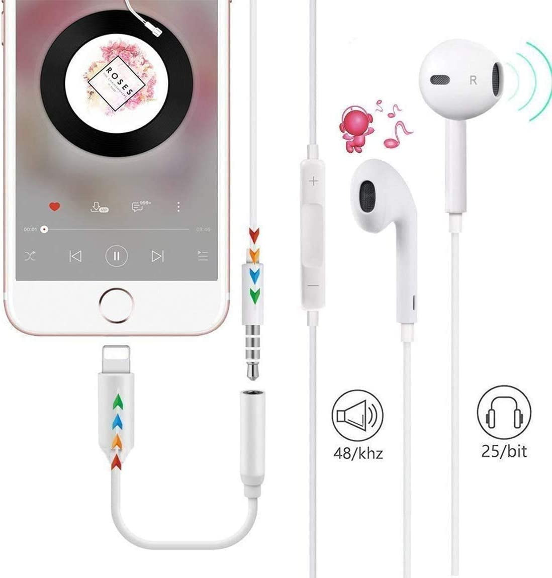 for iPhone Headphone Adapter Jack to 3.5mm Dongle for iPhone Xs//XR//XS Max//X //8//8Plus//7//7Plus.Earphone Adaptor Female Connector Audio Cable Earbuds Aux Converter Support All iOS System 3 Pack