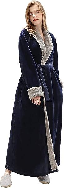 Lofir Robe De Chambre Hiver Dames Longue Peignoir Flanelle Femmes Robes Chaude De Bain Polaire Vetements De Nuit Rose Gris Bleu Amazon Fr Vetements Et Accessoires