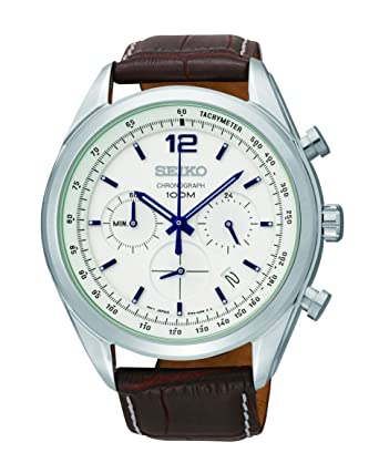 333a902e776 Amazon.com  Seiko Chronograph White Dial Stainless Steel Brown Leather Mens  Watch SSB095  Seiko  Watches