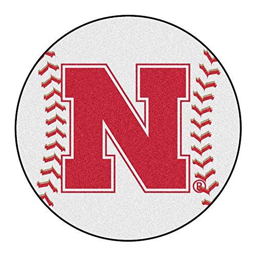 NCAA University of Nebraska - Blackshirts Cornhuskers Baseball Shaped Mat Round Area Rug