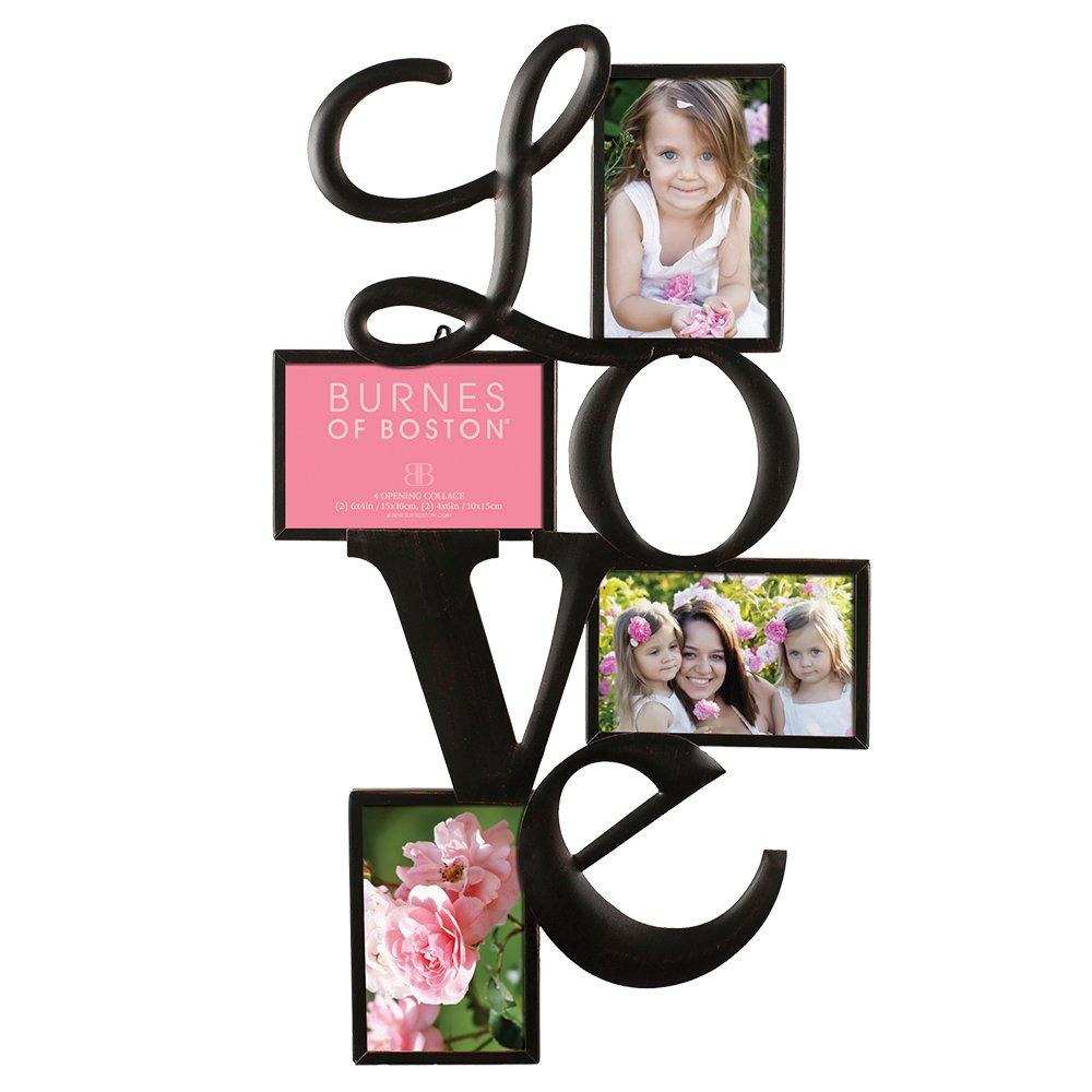 Burnes of Boston Traditional Oil Rubbed Bronze ''LOVE'' Collage Wall Frame, Fits Four 4x6 Images Or Photos by Burnes of Boston