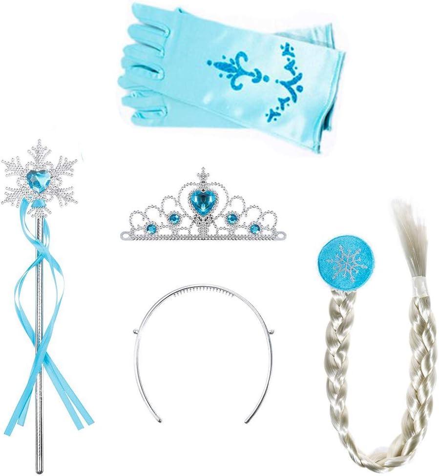 AMACOAM 4 Piezas Disfraz Elsa Frozen Accesorios Conjunto Accesorios de Princesa del Hielo Elsa Corona Varita Mágica Trenza y Guantes, Disfraz Blancanieves Niña Princesa Vestir Accesorios (Azul)