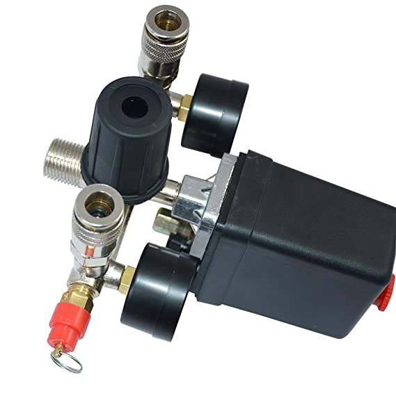 Solarnovo Regulador de Presión de Aire con Interruptor Manómetro de Cantidad de Presión Válvula 230V Conjunto (Conjunto): Amazon.es: Bricolaje y ...