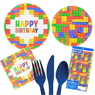 Building Blocks Bricks Toy Decoration Party Supplies Pack Set Serves 16 – Luncheon & Dessert Paper Plates, Napkins, Table Cover, Cutlery Set – Disposable Party Supplies for Food and Cake: Health & Personal Care
