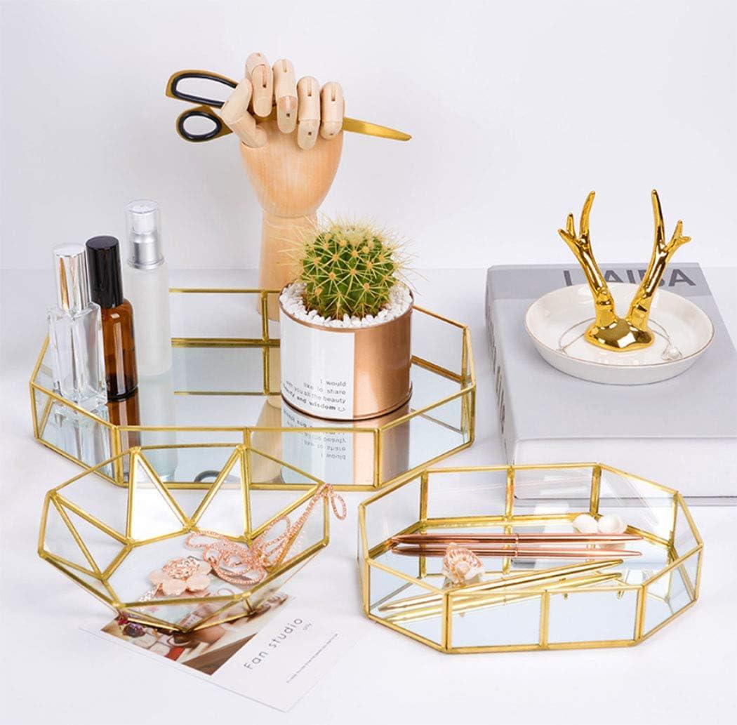 Duffire Vintage Makeup Jewelry Organizer Vassoio Di Vetro a Specchio Decorazione a Mano in Metallo Vassoio Di Colore Grande