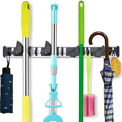 Yu0026R Direct Broom Mop Holder Organizer Garage Storage Hooks Wall Mounted  Broom Hanger For Home Various