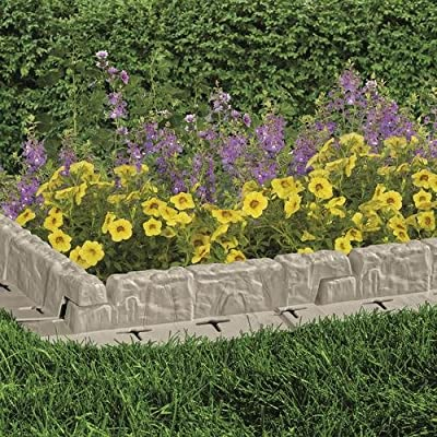 Suncast Cobbled Stone Effect Garden Lawn Mow Edging Plant Border (10 ft)
