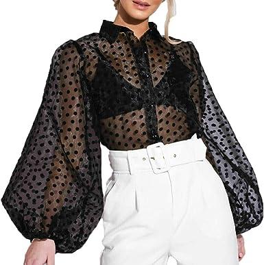 Womens Polka Dot Long Sleeve T Shirt Blouse Casual Slim Fit See-through Tops