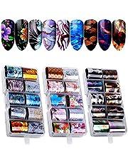 30 Color Nail Foil Transfer Sticker, Kalolary Holographic Nail Art Stickers Tips Wraps Foil Transfer Adhesive Glitters Acrylic DIY Decoration(3 Box/30pcs)