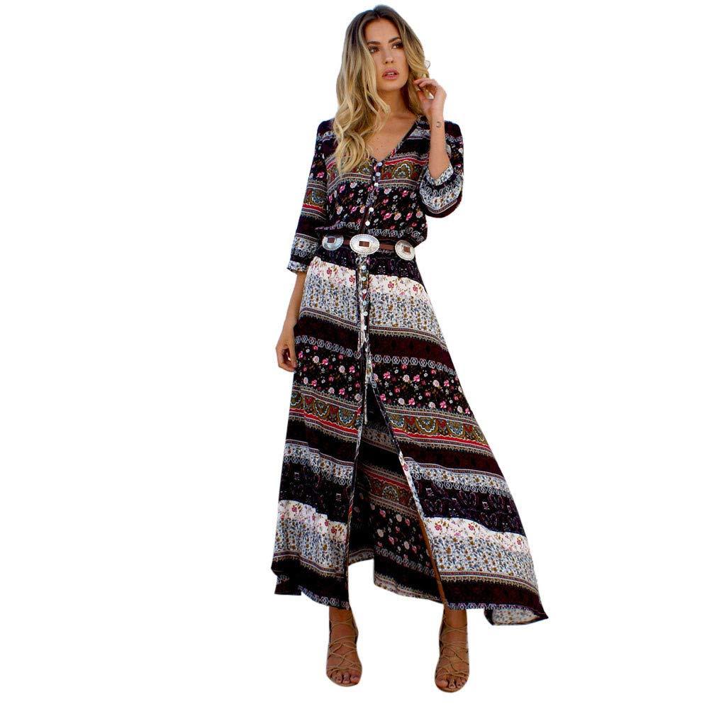 Thenxin Summer Bohemian Tunic Floral Maxi Dress for Women Party Beach Long Sundress (Brown,XL) by Thenxin-dress