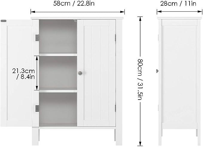 Homfa Armario Almacenaje Armario de Suelo para Cocina Salón Baño Dormitorio con 2 Puertas 2 Estantes Blanco 58x28x80cm: Amazon.es: Hogar