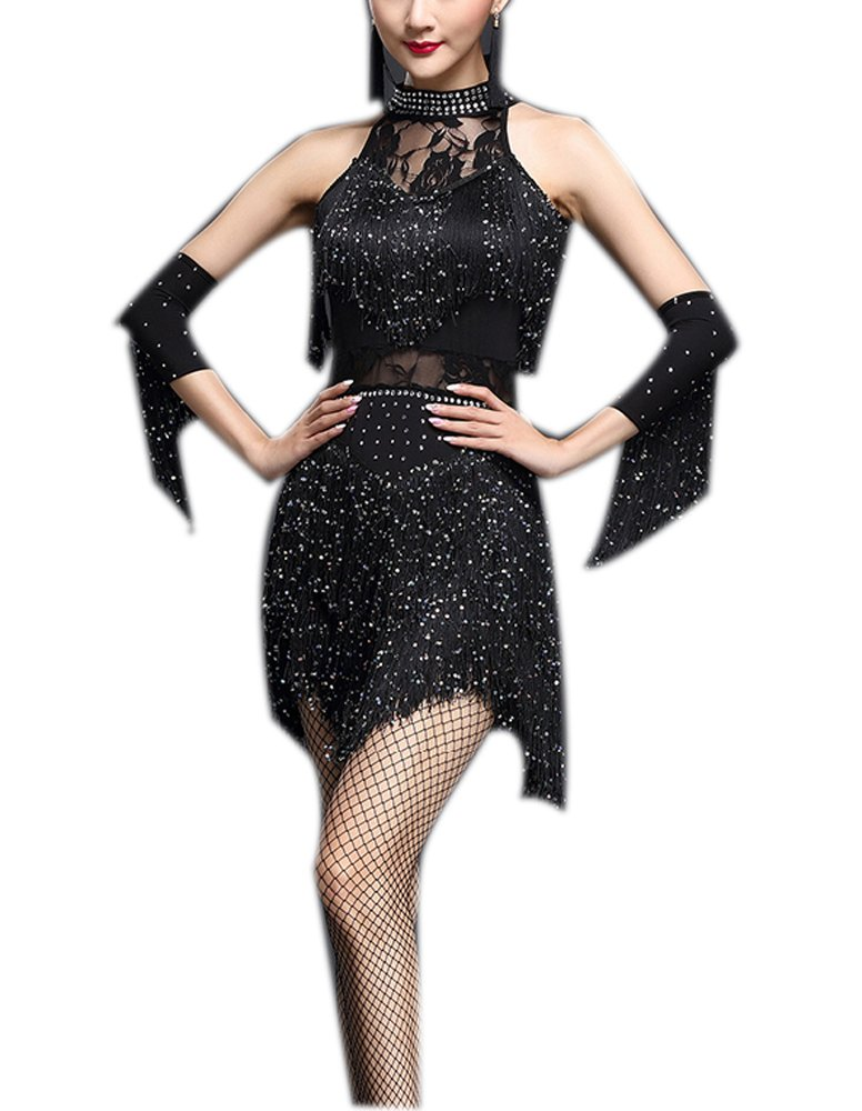 Lace Latin Cha Cha Tango Salsa Practice Gatsby Flapper Dance Party Outfit Dress, Black by Whitewed