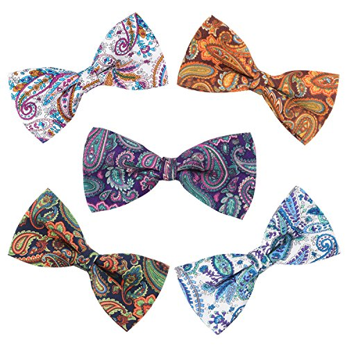 5 PC Mens Assorted Pattern Pre-Tied Adjustable Neck Tie Bowties (Bow Pretied)
