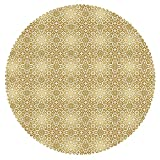 Upscale Round Tablecloth [ Golden,Vintage 20s Gatsby Party Inspired Geometrical Image with Floral Details Print,White and Gold ] Decorative Ideas