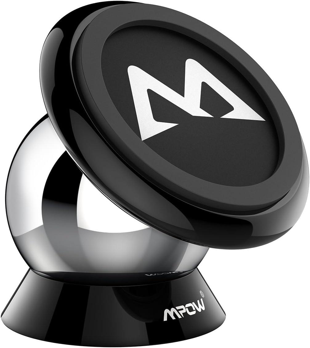 Mpow Soporte Magnético Coche, Soporte Móvil Coche para Salpicadero, Soporte Imanes para iPhone 11 Pro Max/11 Pro/11/ XS/XS Max/XR/X/SE/8/7/6, Galaxy S20/S10/S9/S8/S7/S6, HTC One, Sony Xperia, Negro