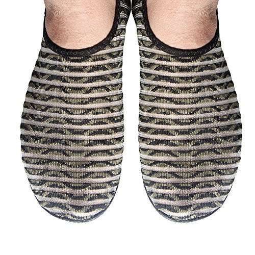 Bopika Barefoot Shoes Water Sports Shoes Quick-Dry Aqua Yoga Socks for Women Men Kids (M: (Women:7.5-8.5/Men:6-7), MC-Green Stripe)