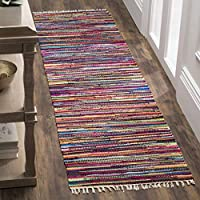 Safavieh Rag Rug Collection RAR128G Hand-Woven Multicolored Flatweave Cotton Runner (23 x 7)