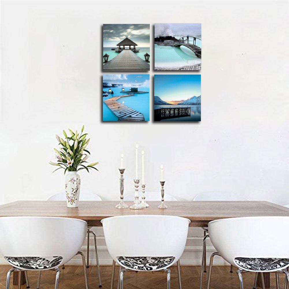 4Pc Wall Art Canvas Print Picture Ocean Beach Bathroom