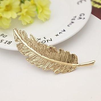 nouveau style de Site officiel modèles à la mode Doré/argenté plumes Pince à cheveux - Femme en forme de ...