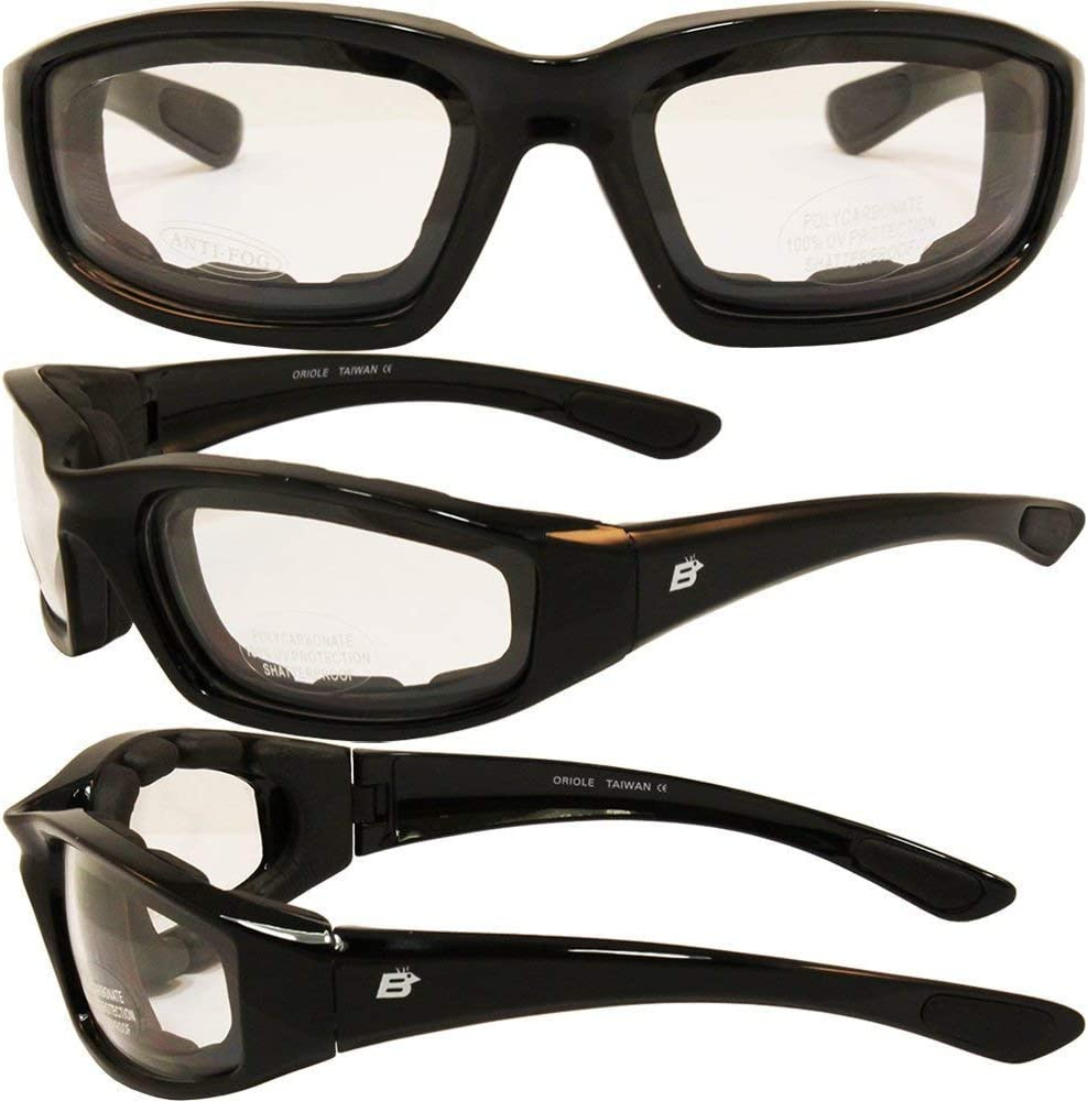 Birdz Oriole Motorcycle Padded Glasses Clear Anti Fog Foam Padding on The Entire Inside of The Glasses