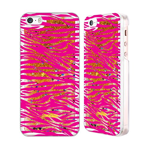 Official Cosmopolitan Pink Zebra Animal Skin Patterns Gold Liquid Glitter Case Cover for Apple iPhone 5 / 5s / SE
