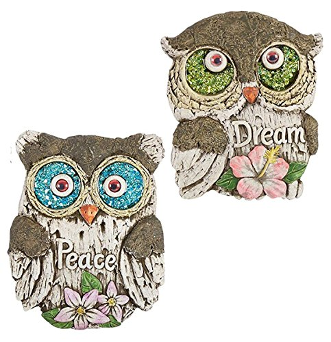 "Nantucket Home Set of 2 Inspirational Quote Glittered Eyes Owl Garden Stepping Stones, 10""L x 8""W x 0.75""H, Peace and ()"