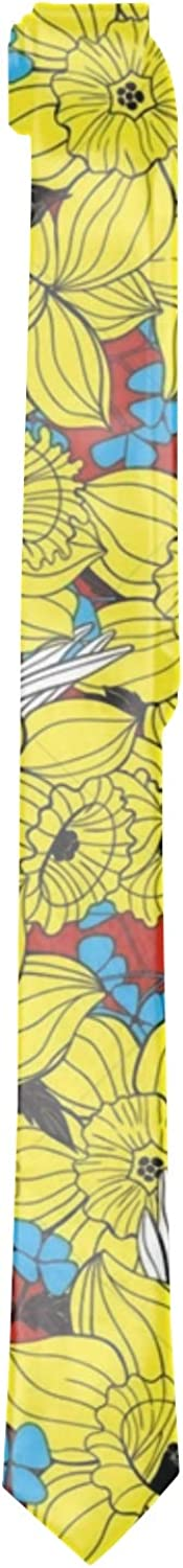 Daffodils Spring Pattern Ties for Men Multicolor Mens Neckties Extra Long