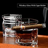 Whiskey Glass with Cigar Holder, Old Fashion Transparent Bourbon Brandy Beer Liquor Spirit Cup Bar Wine Drinking Mug Crystal Glass for Scotch Cigar Cingarette Lovers, Hand-Free, Clear, 14 oz 320ml.