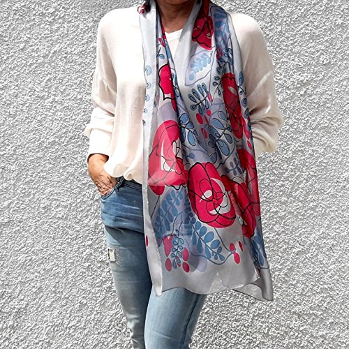 Long Silk Scarf Artistic Hand Painted & Printed Chiffon Blue Pink Floral Designer Fashion Lightweight Spring Wrap for Women with any Dress Birthday Gift