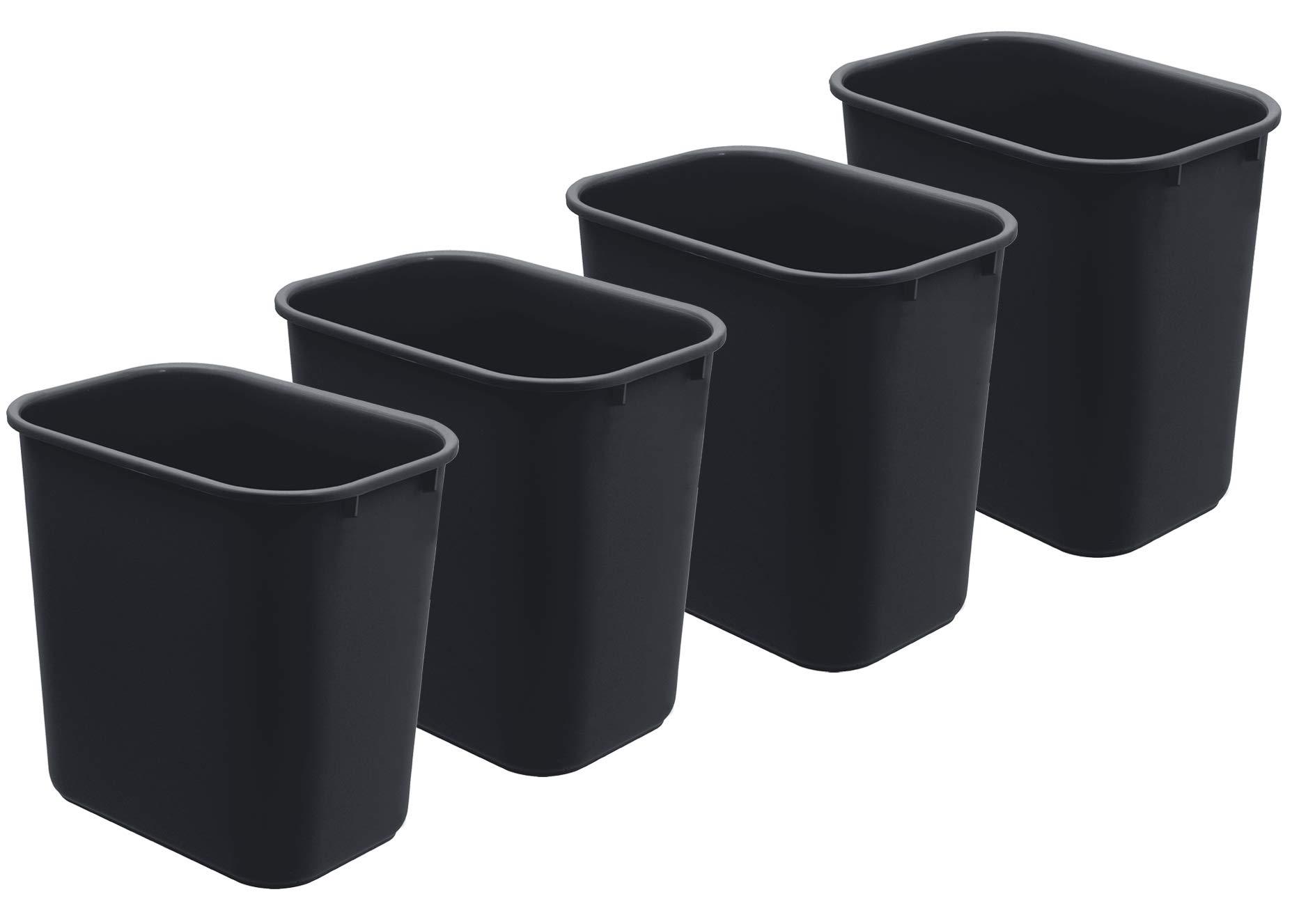 Acrimet Wastebasket 27QT Plastic (Black Color) (4 Pack) by Acrimet