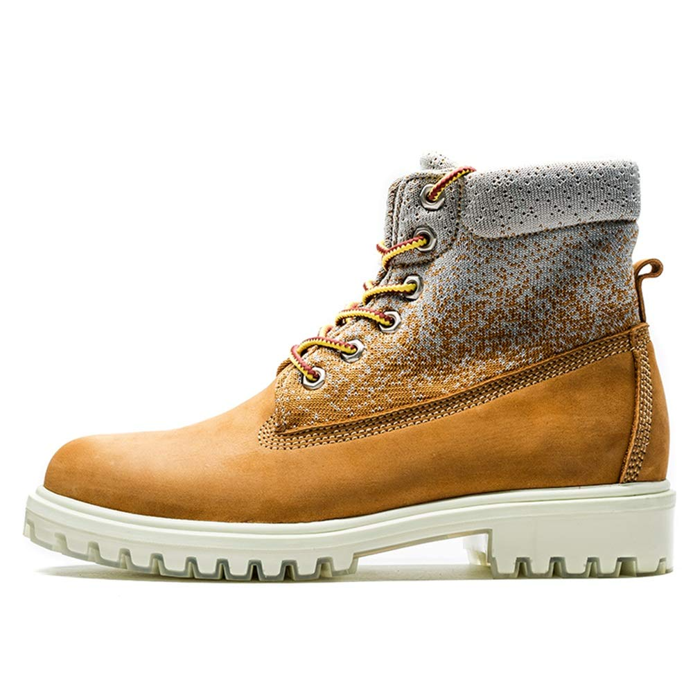 Hilotu Men's Fashion Ankle Boots Casual top Lacing Leisure Outdoor Work Shoes Durable (Color : Yellow, Size : 7.5 D(M) US)