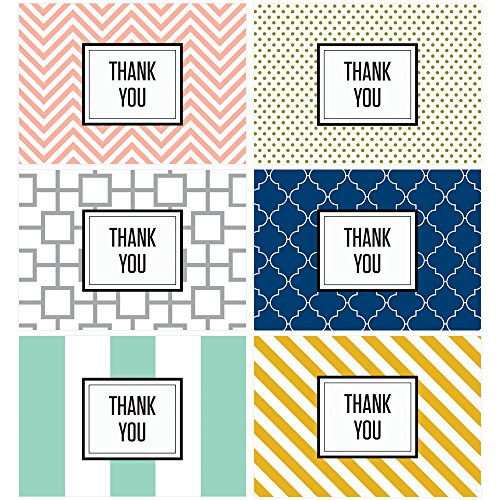 60 Postcards   Modern Thank You   6 Different Patterns And Colors