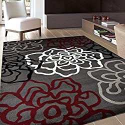 "Rugshop Contemporary Modern Floral Flowers Area Rug, 5' 3"" x 7' 3"", Red/Gray"