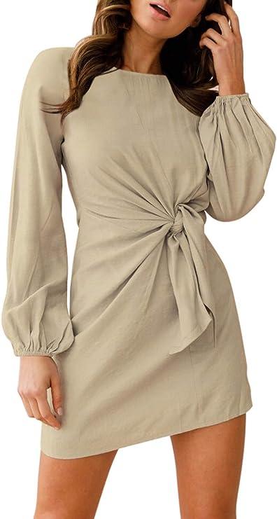 LaSuiveur Women's Casual Knot Waist Long Sleeve Cotton Tunic Dress Apricot XL at Amazon Women's Clothing store